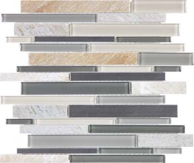 Bliss Stainless Glass Tile Mosaic - Fossil Rock