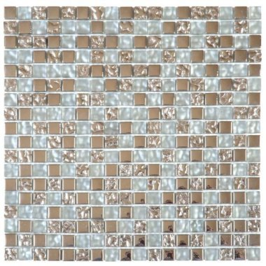 "Glass Tile Decor 5/8"" x 5/8"" - Mix Grey"