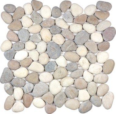 "Spa Pebbles Natural Mosaic 12"" x 12"" - Harmony Warm Blend"
