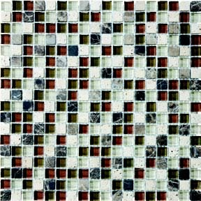 "Bliss Glass Tile Blend Mosaic 5/8"" x 5/8"" - Cabernet"