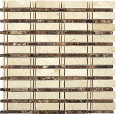"Skyline Stone Tile 3/4"" x 2 1/2"" - Crema Marfil & Emperador Dark (dots)"