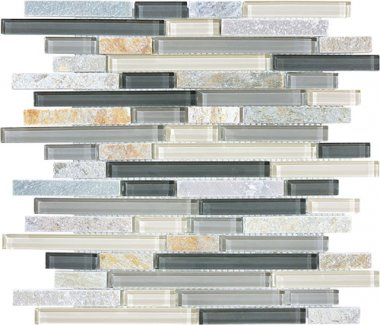 Bliss Glass Tile Blend Linear Mosaic - Silver Aspen