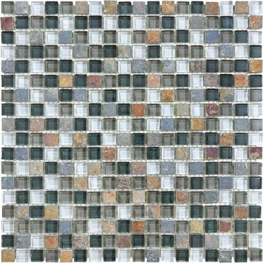 "Bliss Glass Tile Blend Mosaic 5/8"" x 5/8"" - Smoky Mica"