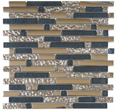 "Glass Tile Chrome Strip Mosaic 12"" x 12"" - Grey"