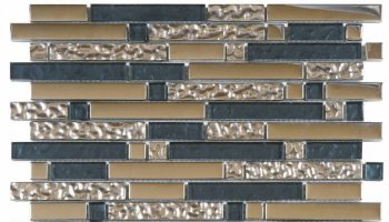 Glass Tile Chrome Strip Mosaic 12