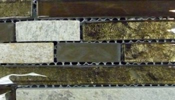 Foil Slate Glass Tile Linear - Bronze Prairie