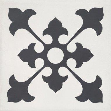 """Bati Orient Cement Tile Decor Classic 8"""" x 8"""" - Antracite/Off White"""