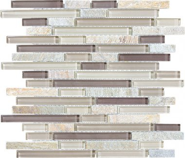 Bliss Glass Tile Blend Linear Mosaic - Cotton Wood