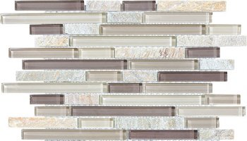 Bliss Glass Tile Blend Linear Mosaic - Cotton Wood