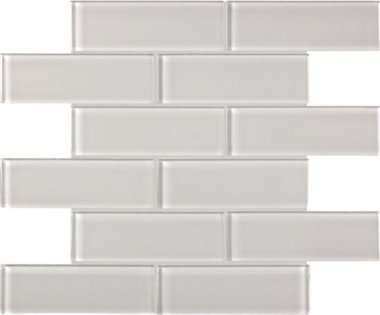 "Bliss Element Glass Tile Brick Mosaic 2"" x 6"" - Mist"