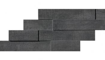 """Mark Mosaic Brick 3D Matte Tile 11 3/8"""" x 23 1/4"""" - Graphite"""