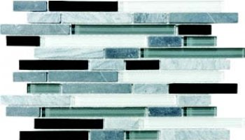 Bliss Glass Tile Blend Linear Mosaic - Midnight