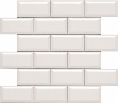"Hampton Tile Beveled Mesh Mosaic 2"" x 4"" - Bone"