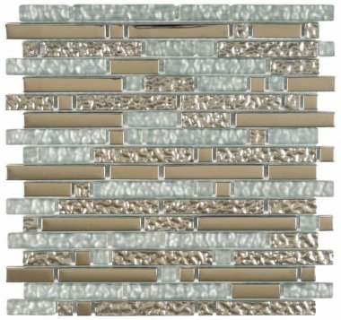 "Glass Tile Chrome Strip Mosaic 12"" x 12"" - White"