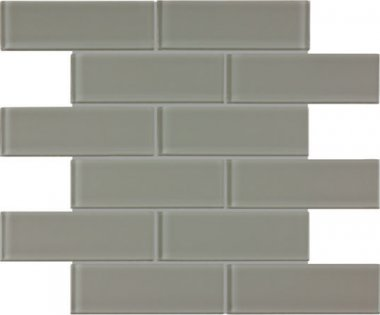 "Bliss Element Glass Tile Brick Mosaic 2"" x 6"" - Smoke"