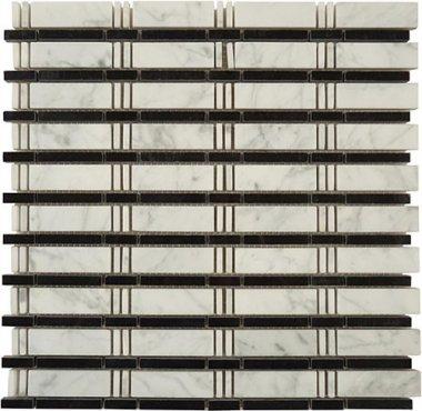 "Skyline Stone Tile 3/4"" x 2 1/2"" - White Carrara & Black (dots)"