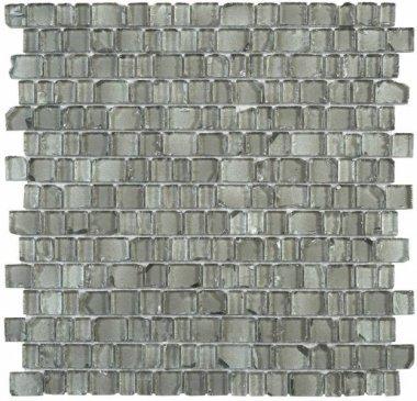 "Glass Tile Broken Edges Irregular Mosaic 12.2"" x 12.4"" - Teal-Grey"
