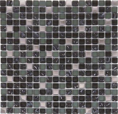 "Glass Tile Glossy Mosaic 1"" x 1"" - Mix Steel/Dark Grey"