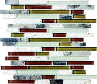 Bliss Glass Tile Blend Linear Mosaic - Cabernet