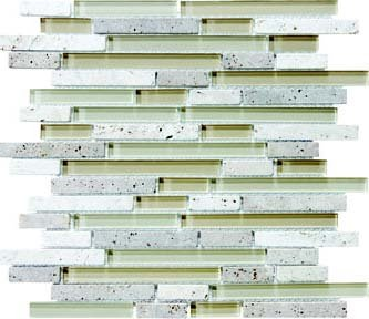 Bliss Glass Tile Blend Linear Mosaic - Creme Brulee