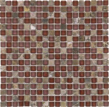"Glass Tile Glossy Mosaic 1"" x 1"" - Brown"