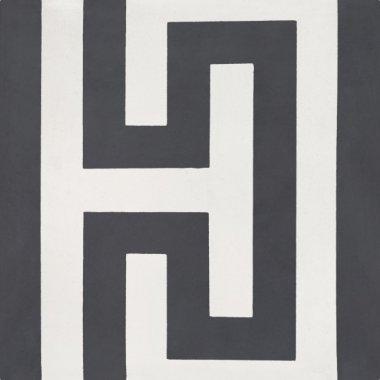 """Bati Orient Cement Tile Decor Classic Geo 8"""" x 8"""" - Antracite/Off White"""