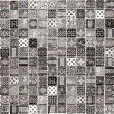 "Glass Tile Classic Decor Glossy 11.8"" x 11.8"" - Grey Black"