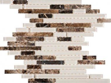 "Glass Tile Baguette Interlocking 11,9"" x 12,1"" - Mix Brown/Beige"