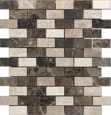 "Emperador Light Line Mosaic 1"" x 2"" - Brown Blend"