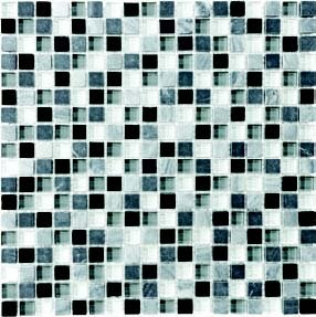"Bliss Glass Tile Blend Mosaic 5/8"" x 5/8"" - Midnight"