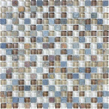 """Bliss Glass Tile Blend Mosaic 5/8"""" x 5/8"""" - Amber Tea"""