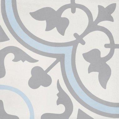"""Bati Orient Cement Tile Decor Classic 8"""" x 8"""" - Off White/Dark Grey/Blue"""