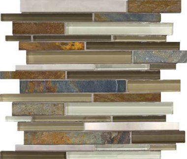 Bliss Stainless Glass Tile Mosaic - Nature Trail