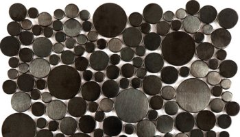 Metal Tile Brushed Penny Rounds Inox Interlocking 12,2