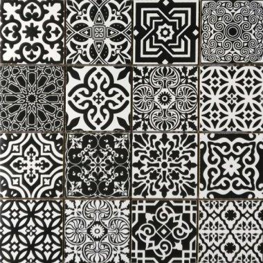 "Bati Orient Cement Tile Patchwork Square 11.8"" x 11.8"" - Black and White"