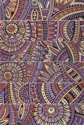"""Bati Orient Cement Tile Patchwork Rectangle 3"""" x 11.8"""" - Multicolor"""