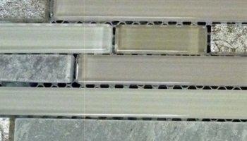 Foil Slate Glass Tile Linear - Creme Prairie