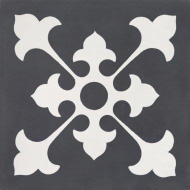 """Bati Orient Cement Tile Decor Classic 8"""" x 8"""" - Off White/Antracite"""
