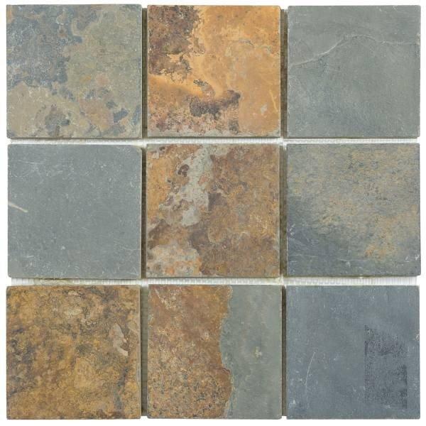Bati orient slate tile mosaic 4 x 4 rust for Carrelage bati orient