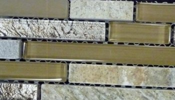 Foil Slate Glass Tile Linear - Brass Prairie