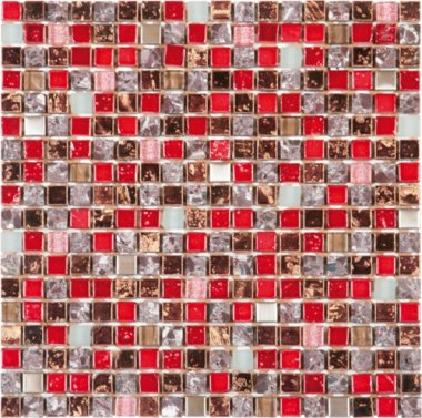 """Glass Tile Decor 5/8"""" x 5/8"""" - Red Mix"""