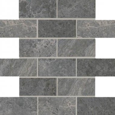 "Laurel Heights Tile Brick Joint Mosaic 2"" x 4"" - Charcoal Crest"