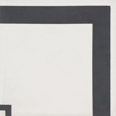 """Bati Orient Cement Tile Decor Modern Line Corner 8"""" x 8"""" - Antracite/Off White"""