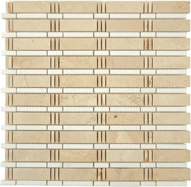 "Skyline Stone Tile 3/4"" x 2 1/2"" - Crema Marfil & Thassos White (dots)"