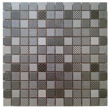 "Glass Tile Deco Mosaic 1"" x 1"" - Black / Grey"