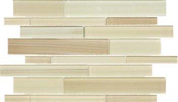 Bliss Fusion Glass Tile Random Strip Mosaic - Sand