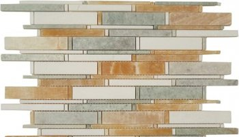 Cascade Stone Tile - Honey Onyx, Ming Green & Thassos White