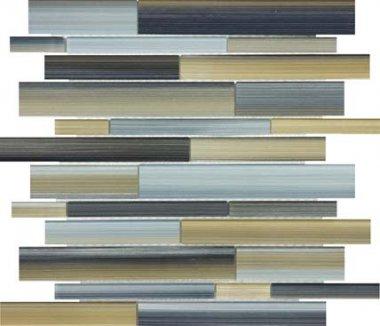 Bliss Fusion Glass Tile Random Strip Mosaic - Oxide