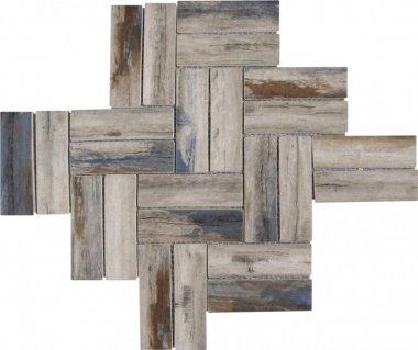 """Glass Tile Herringbone Wood Look Matte 11"""" x 11.1"""" - Beige Brown Blue"""