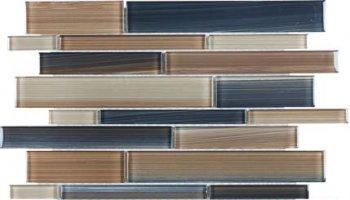 Bliss Fusion Glass Tile Random Strip Mosaic - Erosion